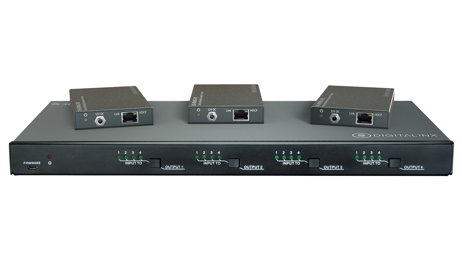 Dl 44e Kit 4x4 4k Hdbt Matrix Switch Kitted With 3 Hdbaset Poe Thread Tele 4 Way Alternate Wiring Plz Help Receivers