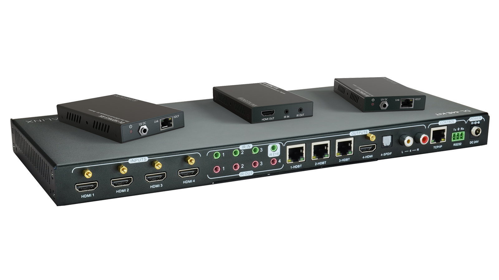 Dl 44e Kit 4x4 4k Hdbt Matrix Switch Kitted With 3 Hdbaset Poe Image Of Home Command Center Structured Wiring Panel 1x8 Coax And Receivers