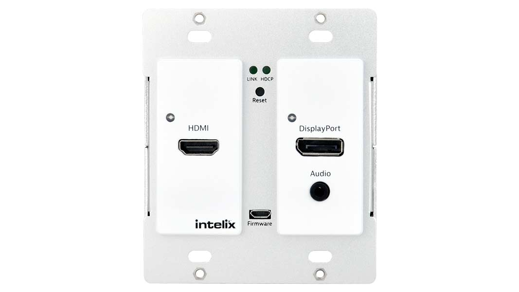 AS-1H1DP-WP-W - HDMI/DisplayPort Auto-Switching Wallplate w/ HDBaseT Output