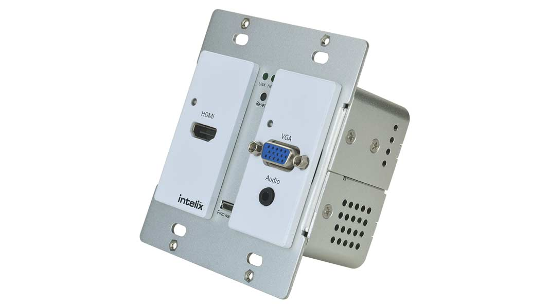 AS-1H1V-WP-W - HDMI/VGA Auto-Switching/Scaling Wallplate with HDBaseT Output