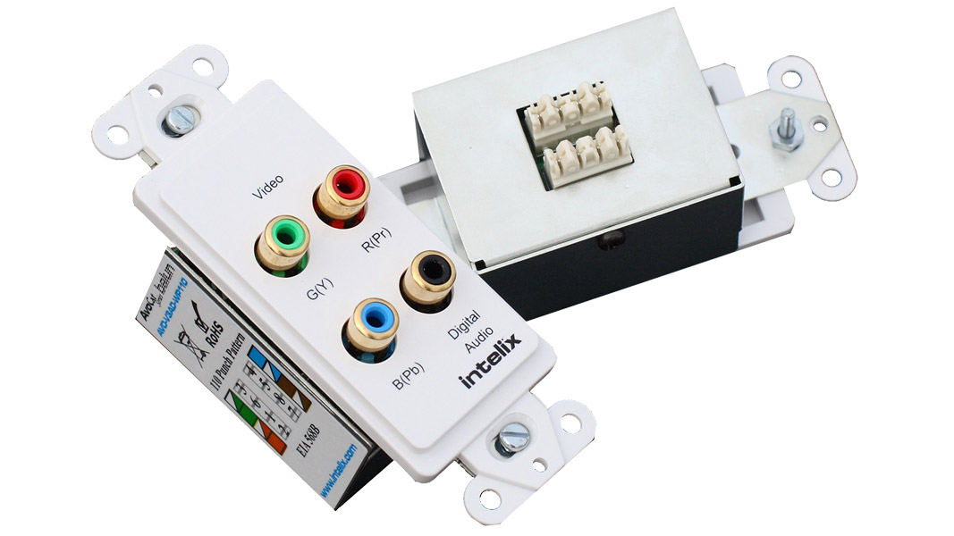 AVO-V3AD-WP110-UK - Component Video & Digital Audio Wall Plate Balun - 110 Punch Down Block - UK Wall Plate