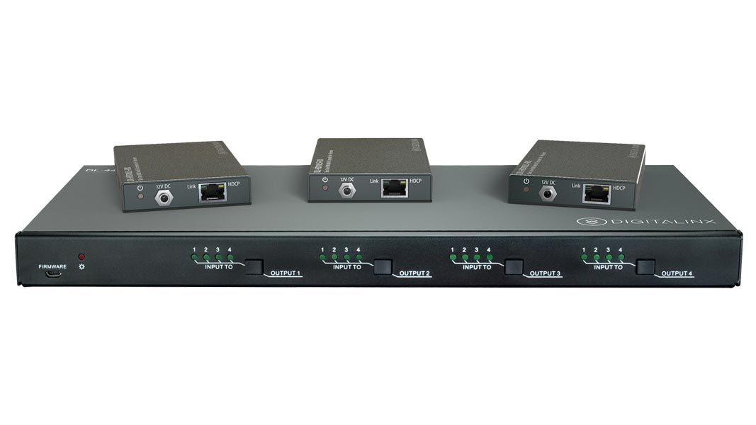 DL-44E-KIT - 4X4 4K HDBT Matrix Switch kitted with 3 HDBaseT PoE receivers