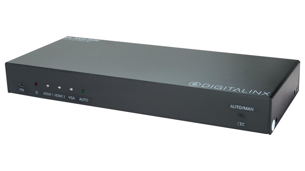 DL-AS31-2H1V - 3x1 Auto Switcher - 2 HDMI and 1 VGA w/audio Input