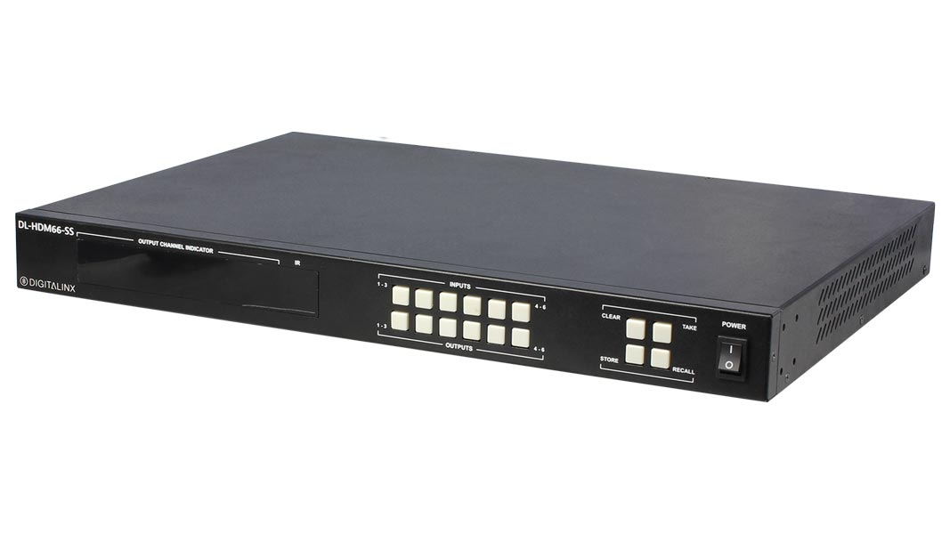 DL-HDM66-SS - 6x6 HDMI matrix supports 18Gbps HDMI 2.0, 4K60 4:4:4, HDCP 2.2 compliant