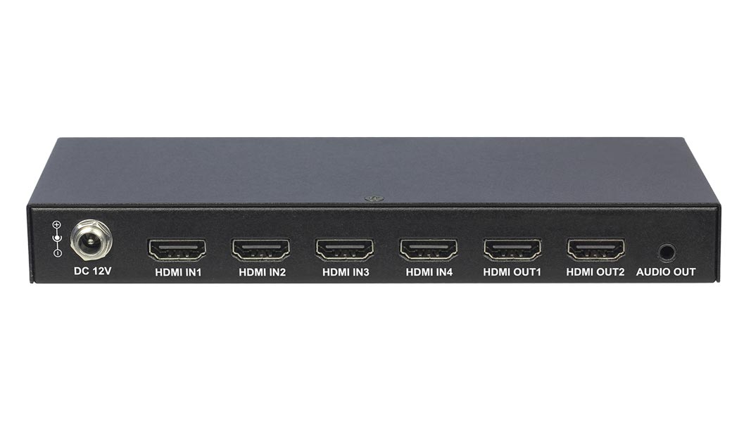DL-S42 - 4x2 4K HDMI Matrix Switch with audio de-embedding and IR and pushbutton control