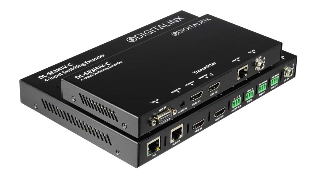 DL-SE3H1V-C - 4 x1 2 piece Conference Room auto switcher / HDBaseT 4K extender with simple automated control capability