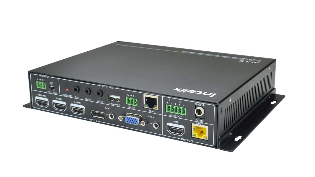 5x1+1 Auto Switching/Scaling Presentation Switch With HDBaseT w/PoE & HDMI output