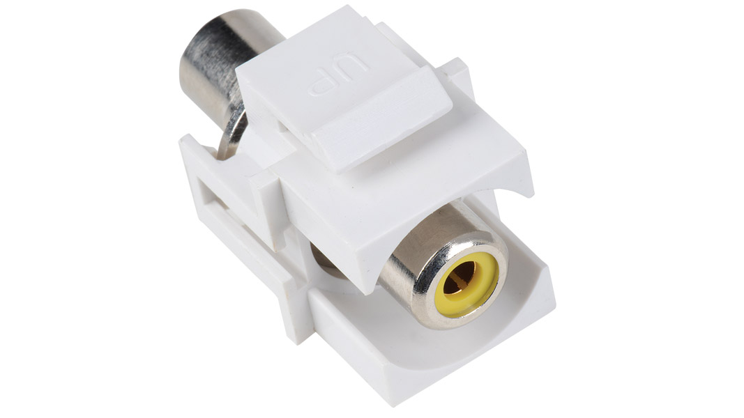 ISK-RCAF-WHT-IV - Keystone compatible  RCA connector pass through inserts green in white