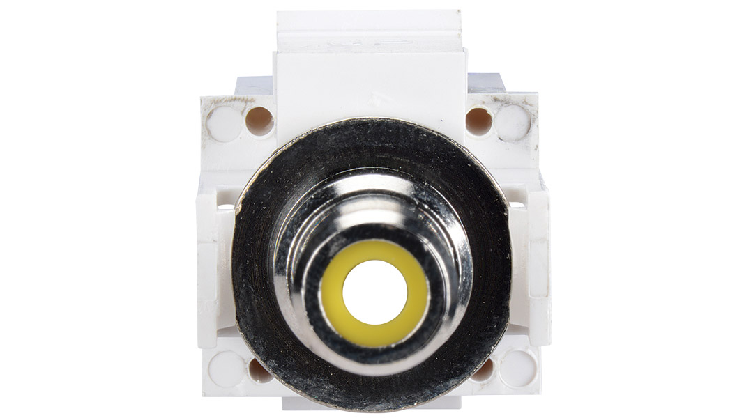 ISK-RCAF-WHT-AL - Keystone compatible  RCA connector pass through inserts green in white