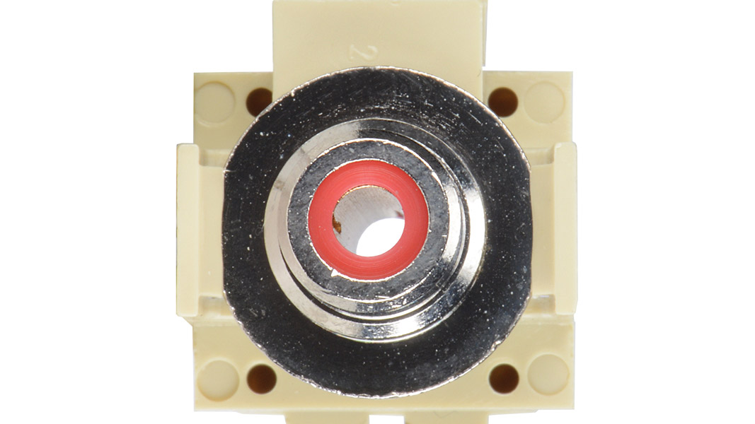 ISKF-RCAF-RED-IV - Keystone compatible  RCA connector pass through inserts green in white
