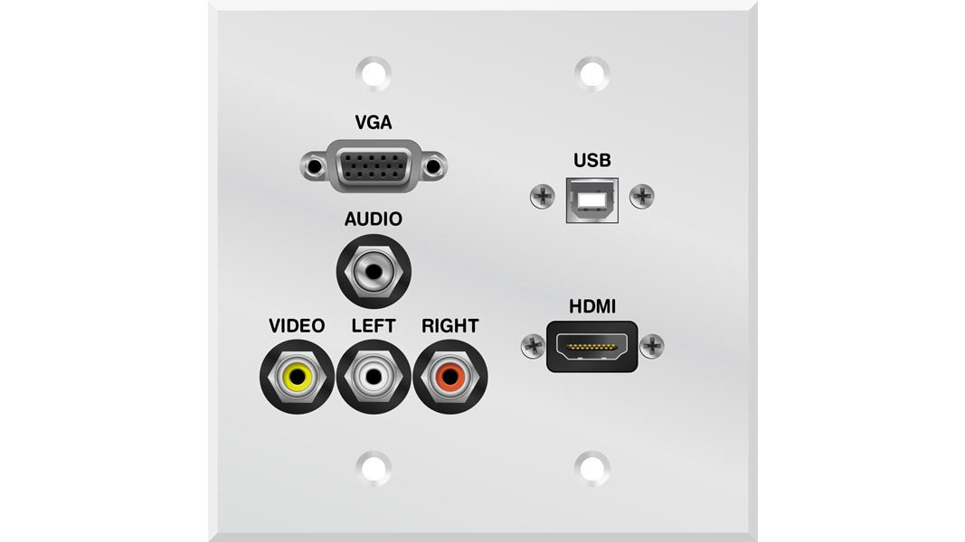 LIBER-CQ90455-1 - VGA, AUDIO, A/V, HDMI and USB Double Gang Faceplate