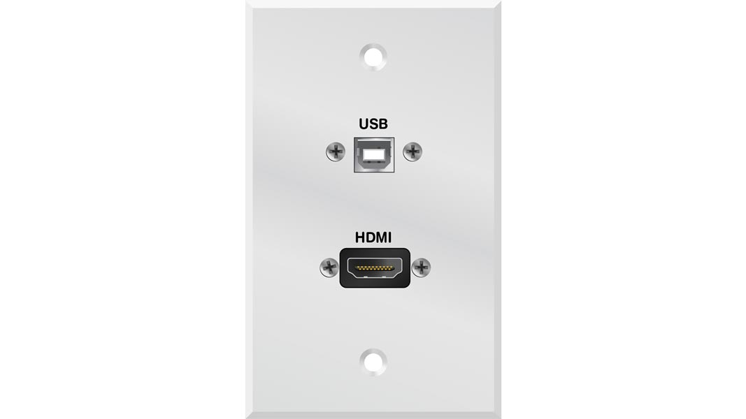 LIBER-CQ90455-7 - HDMI and USB Single Gang Faceplate