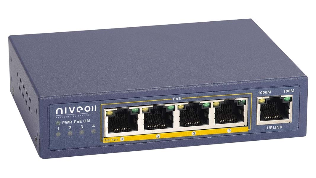 NRS5GP - Niveo 4 port + Uplink PoE+ Gigabit Network switch
