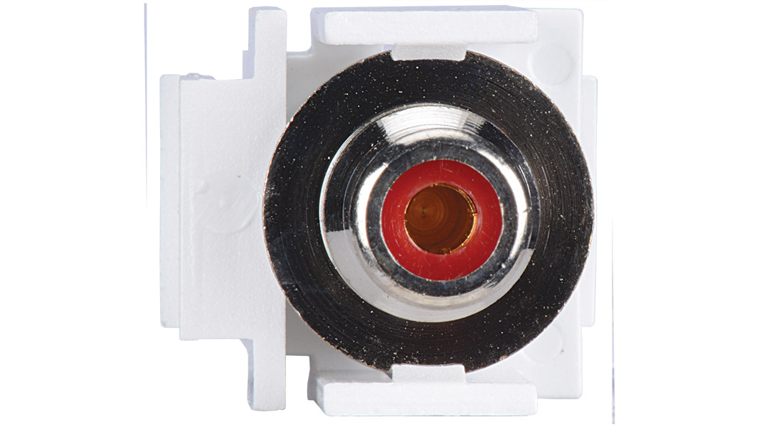 ISKF-RCAF-RED-AL - Keystone compatible  RCA connector pass through inserts green in white