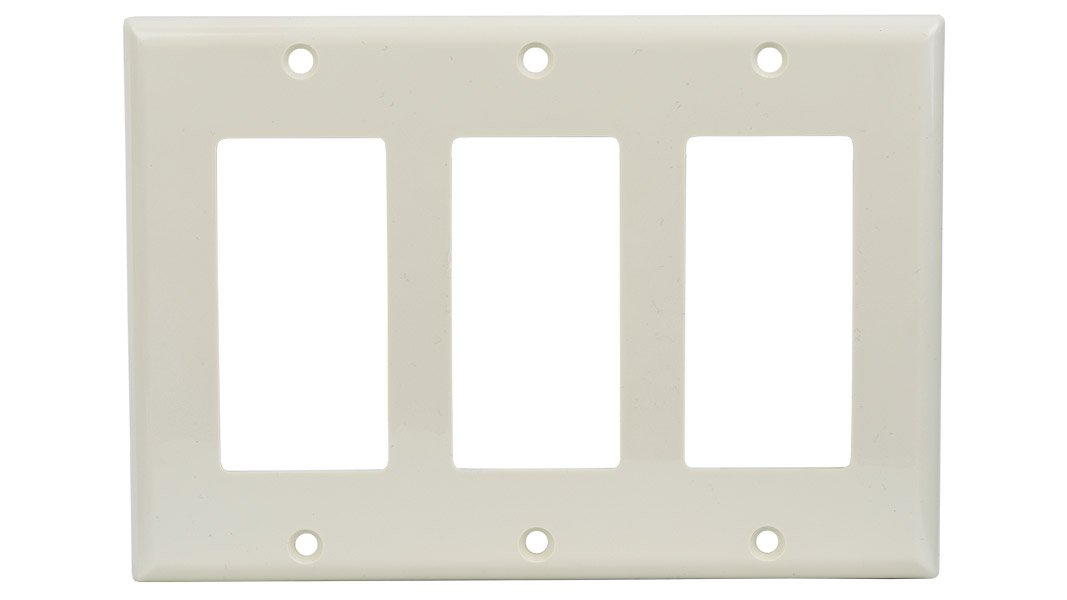 WP-DEC3-IV - Keystone Decorator Style 3 gang smooth faceplate