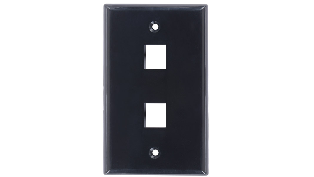 Keystone single gang 2-port smooth faceplate