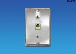 630-ES6 - Stainless Steel Phone hanging faceplates with RJ jack and mounting studs