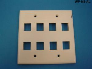 WP-N8-AL - Keystone double gang 8-port smooth faceplate